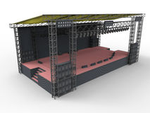 Empty concert stage. 3D render illustration of an empty concert stage. The stage is empty and the composition is isolated on a white background with soft shadows Royalty Free Stock Photography