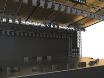 Empty concert stage. 3D render illustration of an empty concert stage. The object is placed on a white background Stock Photos