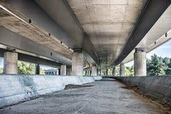 Empty concrete bridge construction. Abandoned empty concrete bridge industrial scene background stock photo