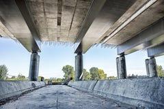 Empty concrete bridge construction. Abandoned empty concrete bridge industrial scene background royalty free stock photo