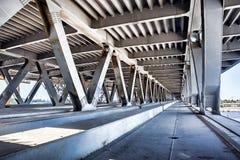 Empty concrete bridge construction. Abandoned empty concrete bridge industrial scene background royalty free stock images