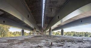 Empty concrete bridge construction panorama. Empty city bridge construction industrial scene, panorama view stock image