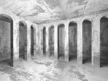 Empty concrete columns room interior. Abstract architecture back. Ground. 3d render illustration Stock Photos