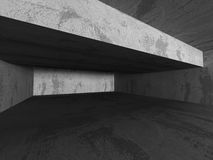 Empty concrete dark room interior. Urban architecture background. 3d render illustration Royalty Free Stock Photos