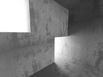 Empty concrete dark room interior. Urban architecture background. 3d render illustration Stock Photography