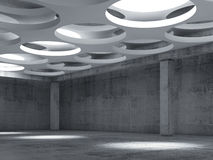 Empty concrete hall interior with big round lamps Royalty Free Stock Photos