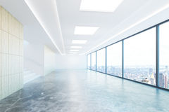 Empty concrete hallway with city view Royalty Free Stock Photography