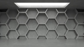 Empty concrete hexagons pattern room interior with light from ceiling. 3D rendering vector illustration