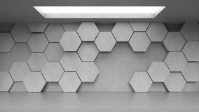 Empty concrete hexagons pattern room interior with light from ceiling. 3D rendering Royalty Free Stock Photography