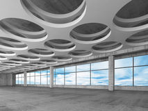 Empty concrete interior background, 3d render. Empty concrete interior background with round holes ceiling pattern and blue sky outside, 3d illustration Stock Photo