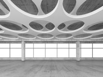 Empty concrete interior background, 3d render. Empty concrete interior background with round holes pattern on white ceiling constructions, 3d illustration Royalty Free Stock Photography