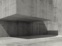 Empty concrete interior, contemporary 3d. Empty concrete interior, contemporary minimal architecture design, 3d illustration Stock Illustration