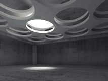 Empty concrete interior with round illumination. Empty dark concrete hall interior with round illumination hole in white suspended ceiling, 3d illustration Stock Image
