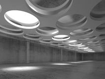 Empty concrete interior with round illuminators. Empty dark concrete hall interior with big round illuminators in suspended ceiling, 3d illustration background Stock Image