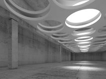 Empty concrete interior with round illuminators. Empty concrete hall interior with big round illuminators in suspended ceiling, 3d illustration background Stock Illustration