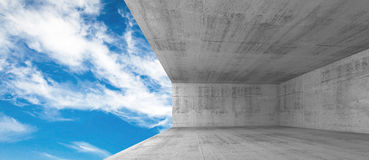 Empty concrete interior with window opening, 3d Royalty Free Stock Photography