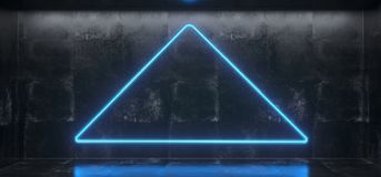 Empty Concrete Room With Glowing Triangle Neon Light And Reflect. Ions on Floor.3D Rendering Illustration Stock Photo