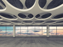 Empty concrete room interior background 3d. Empty concrete interior background with round holes pattern on ceiling and colorful cloudy sky outside, 3d stock illustration