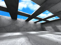Empty concrete room interior with beams on sky background Royalty Free Stock Photos