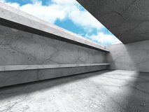 Empty concrete room interior with ceiling window to sky Royalty Free Stock Photos
