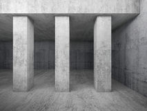 Empty concrete room interior with columns, 3d Royalty Free Stock Images