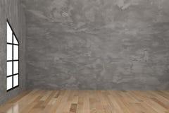 Empty concrete room interior in 3D rendering. Empty concrete room with black window interior in 3D rendering Stock Photography