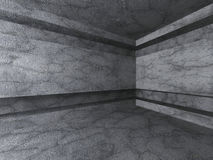 Empty Concrete Room Interior. Dark Architecture Background. 3d Render Illustration Stock Images