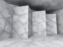 Empty concrete room interior. Dark architecture urban background. 3d render illustration Stock Photo