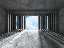 Empty concrete room with window to sky. Architecture background. 3d render illustration Stock Photo