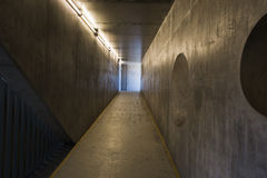 Empty concrete tunnel with neon lights Stock Photography