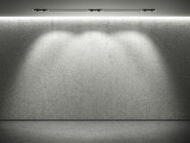 Empty concrete wall with 3 spot lights. And concrete floor Stock Photography