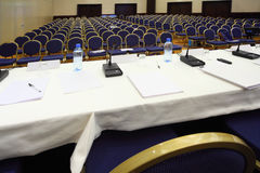 Empty conference hall during a break stock images