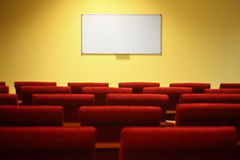 Empty conference hall. focus on a screen. royalty free stock photos