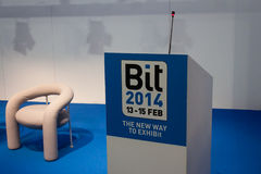 Empty conference room at Bit 2014, international tourism exchange in Milan, Italy Royalty Free Stock Photography