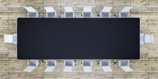 Empty conference room with black table and white chairs royalty free stock photo