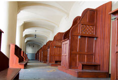 Empty confessionals, a place of repentance and conversion. Inter. National Shrine of St. Anne, Mount St. Anna, Poland Royalty Free Stock Image
