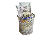 Empty container and banknotes dollar Royalty Free Stock Image