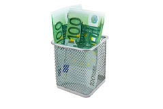 Empty container and banknotes euro Royalty Free Stock Photos