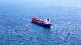 Empty container cargo ship in the open ocean stock footage