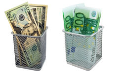 Empty containers and banknotes Royalty Free Stock Image