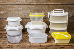 Empty containers for food on wooden background Stock Image