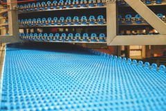Empty conveyor belt for bread factory royalty free stock images