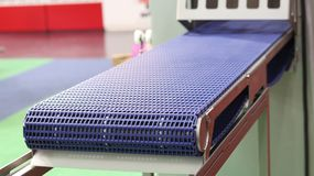 Empty conveyor belt for food machinery. Close up Royalty Free Stock Image