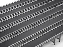 Empty conveyor line. 3d rendering empty rubber conveyor lines in a row stock photos