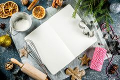 Empty cookbook for Christmas recipes royalty free stock photography