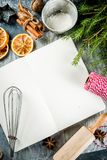 Empty cookbook for Christmas recipes stock photo