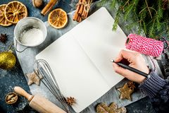 Empty cookbook for Christmas recipes royalty free stock image