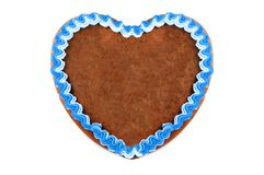 Empty copy space Oktoberfest Gingerbread heart on white isolated. Background royalty free stock photos