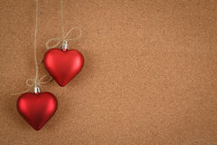 Empty cork board for valentine message. On wooden background Stock Photos