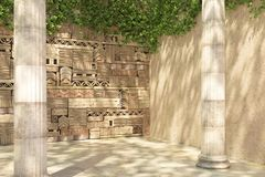 Empty corner of an ivy-covered decorative wall and old columns. Wall of stone blocks and bricks with pattern in ancient style. Ð¡opy space. Antique stock illustration
